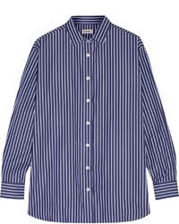 Camisa de vestir de rayas verticales azul marino