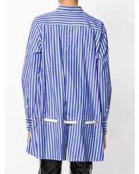 Camisa de vestir de rayas verticales azul de Sacai