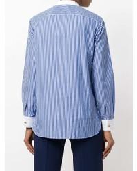 Camisa de vestir de rayas verticales azul de Tory Burch