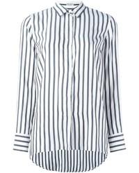 Camisa de vestir de rayas verticales blanca de Brunello Cucinelli