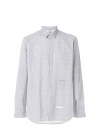 Camisa de Vestir de Rayas Verticales Celeste de Dnl