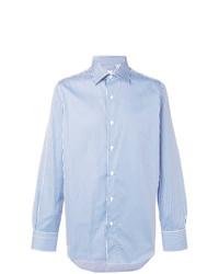 Camisa de Vestir de Rayas Verticales Celeste de Finamore 1925 Napoli