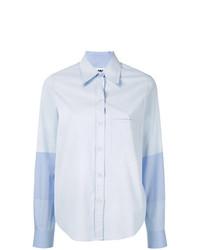 Camisa de vestir de rayas verticales celeste de MM6 MAISON MARGIELA