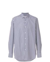 Camisa de vestir de rayas verticales en blanco y azul marino de Bagutta