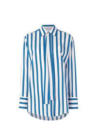 Camisa de vestir de rayas verticales en blanco y azul de MSGM