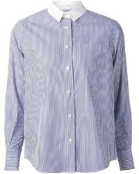 Camisa de vestir de rayas verticales en blanco y azul de Sacai