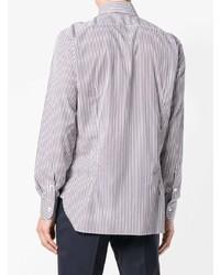 Camisa de vestir de rayas verticales en blanco y marrón de Barba
