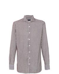 Camisa de vestir de rayas verticales en blanco y marrón de Lardini