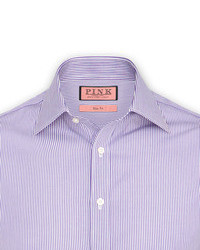 Camisa de vestir de rayas verticales en blanco y morado
