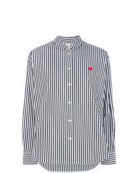 Camisa de vestir de rayas verticales en blanco y negro de Chinti & Parker