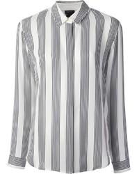 Camisa de vestir de rayas verticales en blanco y negro de Theory