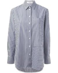Camisa de vestir de rayas verticales en blanco y negro de Victoria Beckham