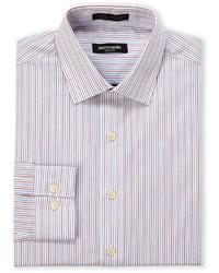 Camisa de vestir de rayas verticales en blanco y rojo y azul marino
