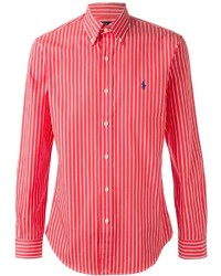 ecbe5e0adb Camisa de vestir de rayas verticales en blanco y rojo de Polo Ralph Lauren