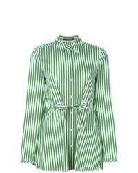 Camisa de vestir de rayas verticales en verde menta de Luisa Cerano