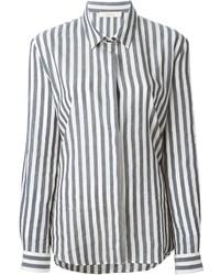 Camisa de vestir de rayas verticales gris