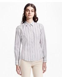 Camisa de Vestir de Rayas Verticales Gris de Brooks Brothers