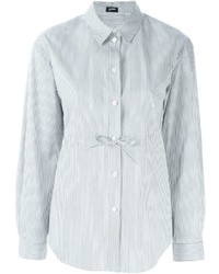 Camisa de vestir de rayas verticales gris de Jil Sander Navy