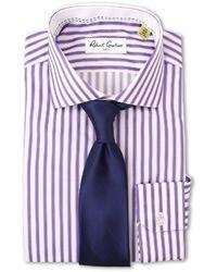 Camisa de vestir de rayas verticales morado