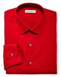 Camisa de vestir de rayas verticales roja