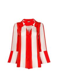 Camisa de vestir de rayas verticales roja de Alice + Olivia