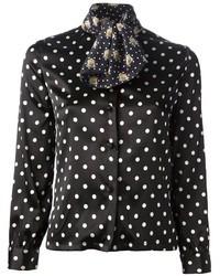 Camisa de vestir de seda a lunares negra