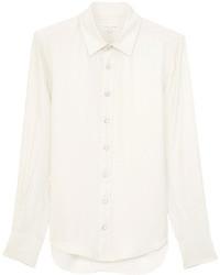 Camisa de vestir de seda blanca