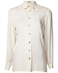 Camisa de vestir de seda blanca de Hermes