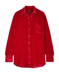 Camisa de vestir de seda roja