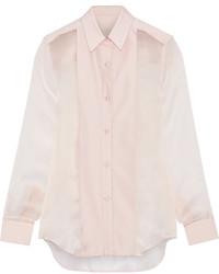 Camisa de vestir de seda rosada