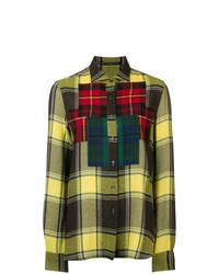 Camisa de vestir de tartán amarilla de Ermanno Scervino