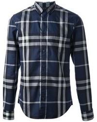 Camisa de vestir de tartán azul marino