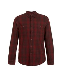 Camisa de vestir de tartán burdeos