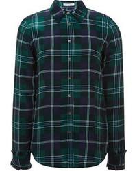 Camisa de Vestir de Tartán en Azul Marino y Verde