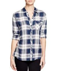 Camisa de vestir de tartán en blanco y azul marino