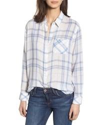 Camisa de vestir de tartán en blanco y azul