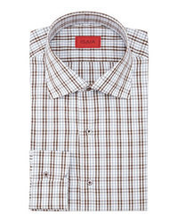 Camisa de vestir de tartán en blanco y marrón