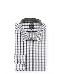 Camisa de vestir de tartán en blanco y negro