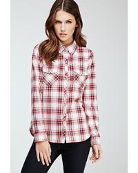 Camisa de Vestir de Tartán en Rojo y Blanco
