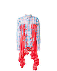 Camisa de vestir de tartán en turquesa