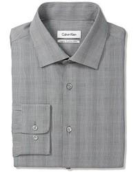 Camisa de vestir de tartán gris de Calvin Klein