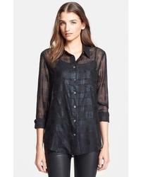 Camisa de vestir de tartán negra