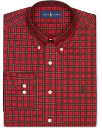 Camisa de vestir de tartán roja