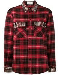 Camisa de Vestir de Tartán Roja de Gucci
