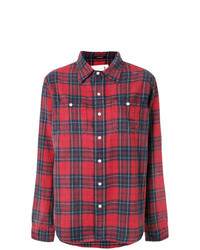 Camisa de vestir de tartán roja de R13