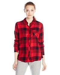 Camisa de Vestir de Tartán Roja de Rails