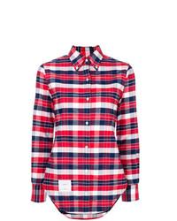 Camisa de vestir de tartán roja de Thom Browne