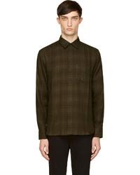 Camisa de vestir de tartán verde oscuro
