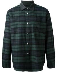 Camisa de vestir de tartán verde oscuro de Golden Goose Deluxe Brand