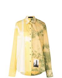 Camisa de vestir efecto teñido anudado amarilla de Proenza Schouler